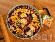 Приготвяне на рецепта Зелена салата с пилешки хапки от бут, царевица от консерва, фета сирене и череши